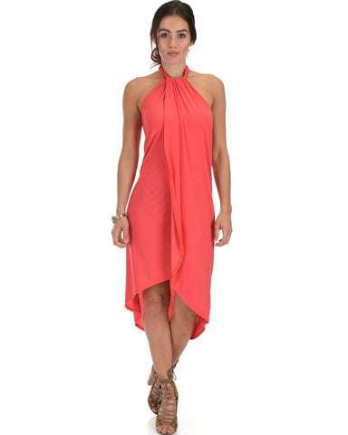 Wrap Star Halter Coral Midi Wrap Dress