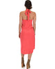 Wrap Star Halter Coral Midi Wrap Dress - Back Image