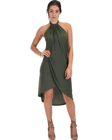 Wrap Star Halter Olive Midi Wrap Dress