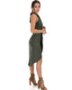 Wrap Star Halter Olive Midi Wrap Dress - Side Image
