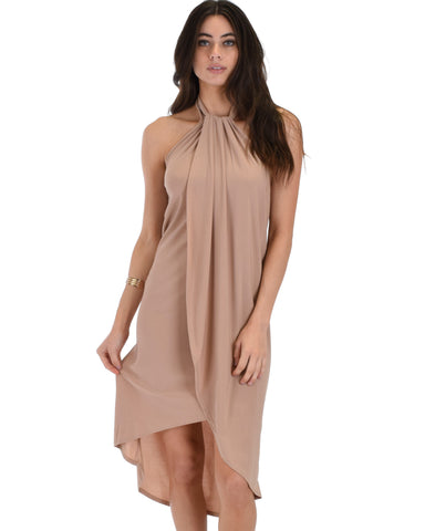 Wrap Star Halter Taupe Midi Wrap Dress