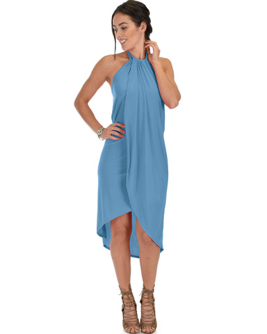 Wrap Star Halter Teal Midi Wrap Dress