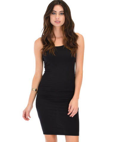 Timeless Hourglass Ruched Black Bodycon Dress