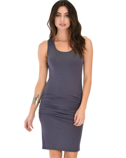 Timeless Hourglass Ruched Charcoal Bodycon Dress