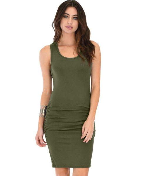 Timeless Hourglass Ruched Olive Bodycon Dress