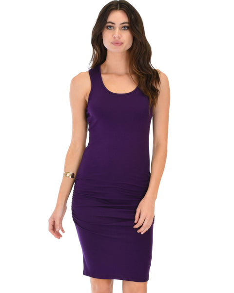 Timeless Hourglass Ruched Purple Bodycon Dress