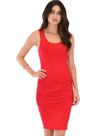 Timeless Hourglass Ruched Red Bodycon Dress