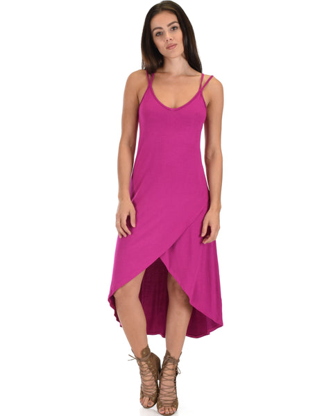 All Wrapped Up Strappy Berry Wrap Dress