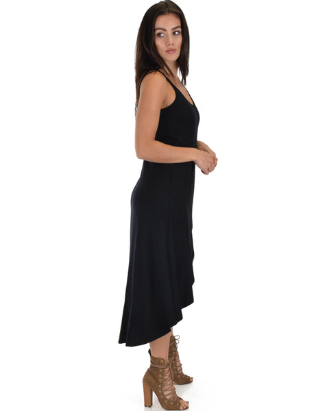 All Wrapped Up Strappy Black Wrap Dress