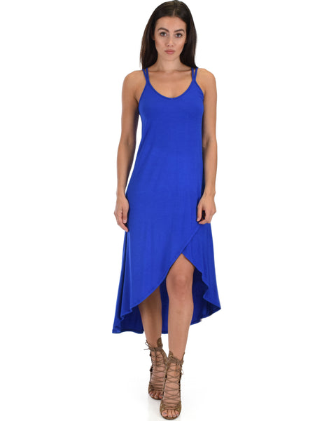 All Wrapped Up Strappy Royal Wrap Dress