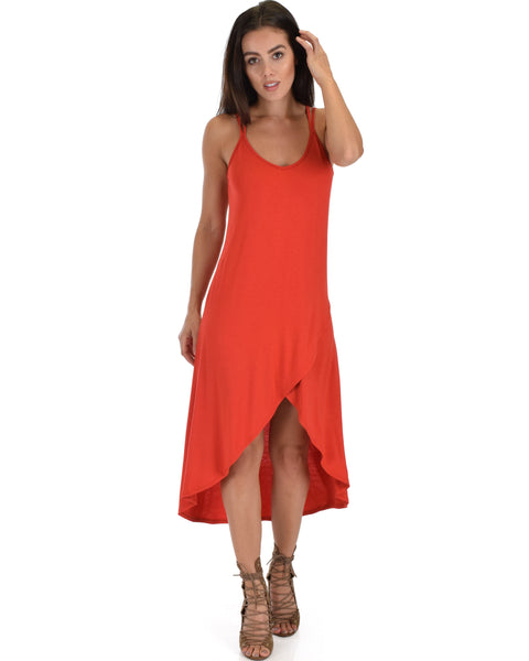 All Wrapped Up Strappy Rust Wrap Dress
