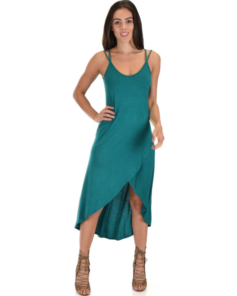 All Wrapped Up Strappy Green Wrap Dress