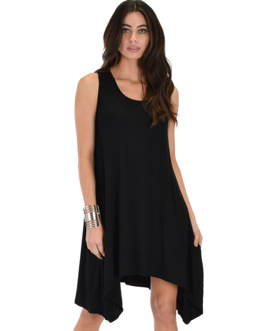 Cross Back Sleeveless Black Dress With Pockets