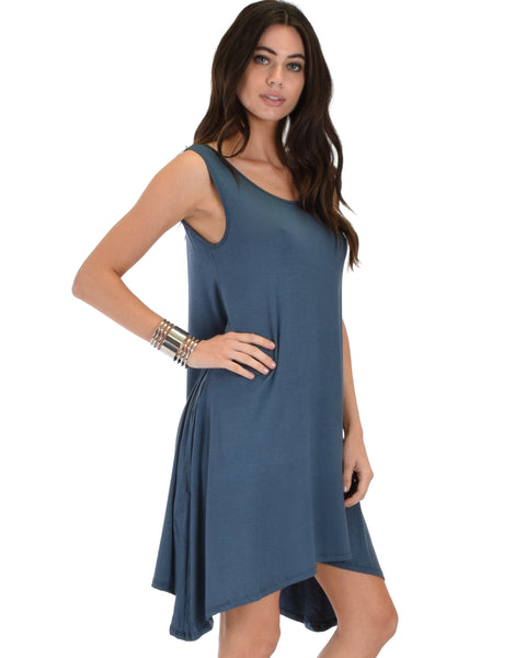 Cross Back Sleeveless Blue Dress With Pockets
