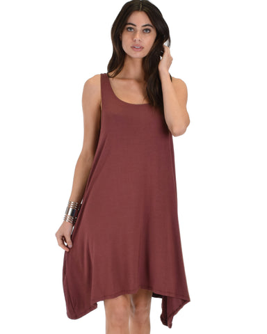Cross Back Sleeveless Marsala Dress With Pockets
