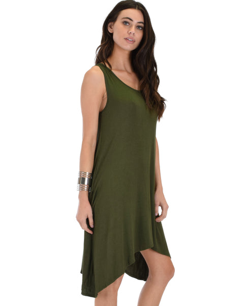 Cross Back Sleeveless Olive Dress With Pockets