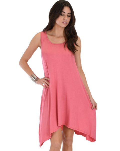 Cross Back Sleeveless Pink Dress With Pockets