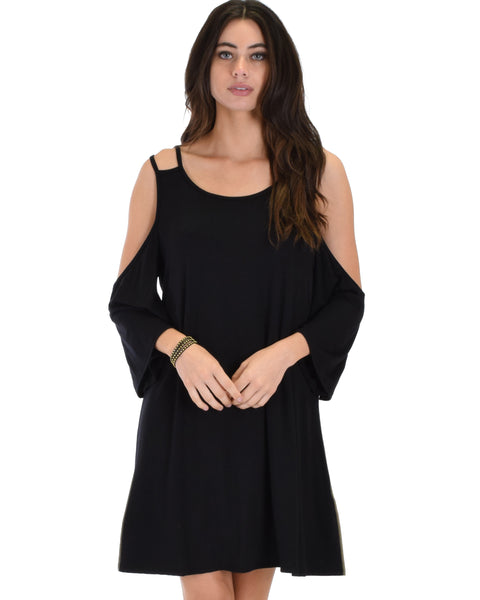 Sassy Sun Kissed Strappy Black Shift Dress