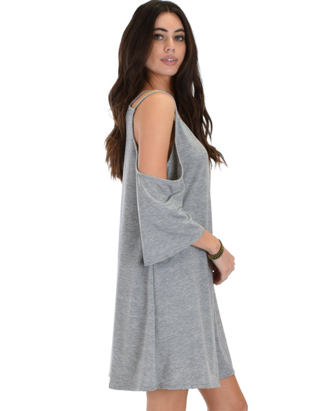 Sassy Sun Kissed Strappy Grey Shift Dress