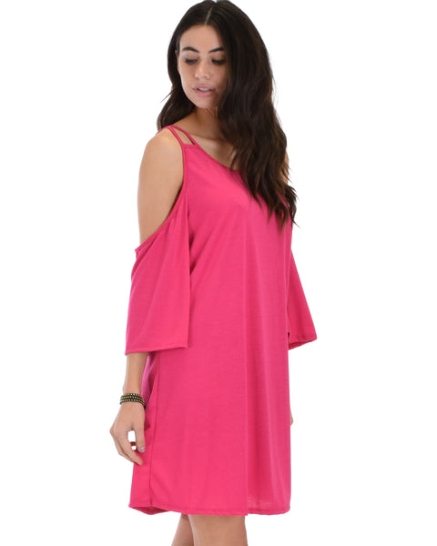 Sassy Sun Kissed Strappy Fuschia Shift Dress