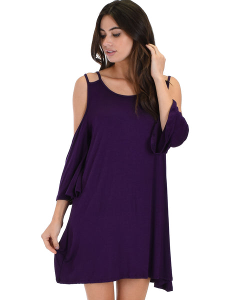 Sassy Sun Kissed Strappy Purple Shift Dress