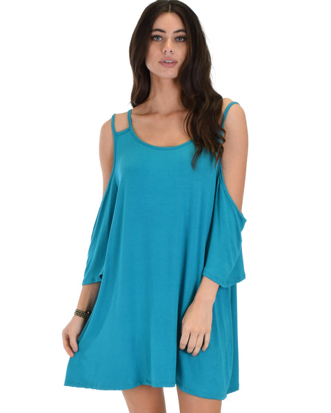 Sassy Sun Kissed Strappy Teal Shift Dress
