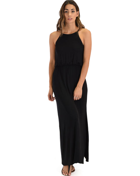 Cherish The Day Black Maxi Dress With Cinched Waist