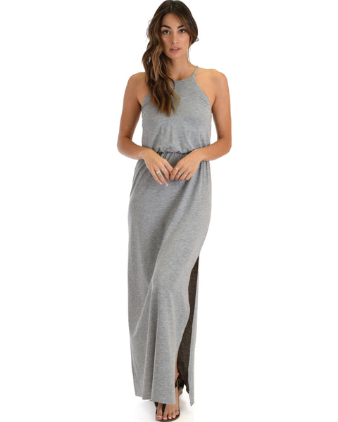 Cherish The Day Grey Maxi Dress With Cinched Waist