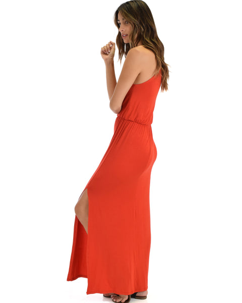 Cherish The Day Rust Maxi Dress With Cinched Waist