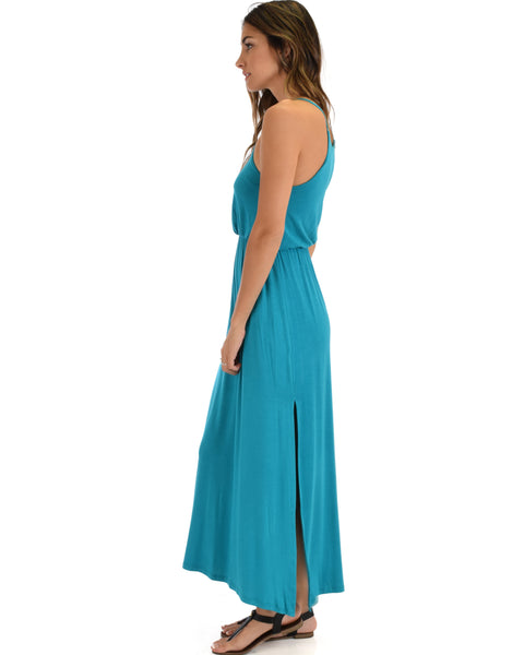 Cherish The Day Teal Maxi Dress With Cinched Waist