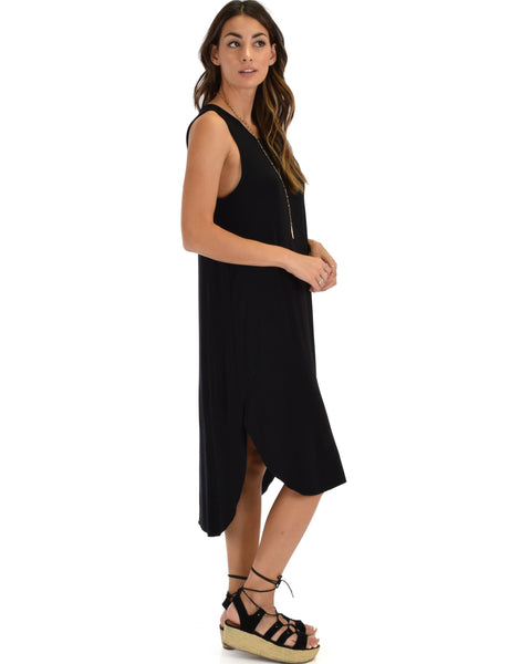 Mood And Melody Side Slit Black T-Shirt Dress