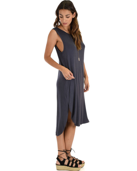 Mood And Melody Side Slit Charcoal T-Shirt Dress