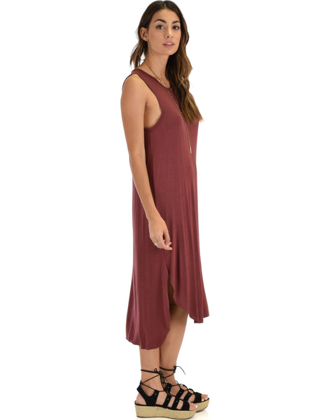 Mood And Melody Side Slit Marsala T-Shirt Dress