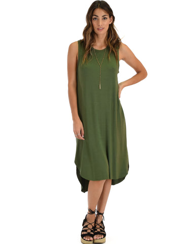 Mood And Melody Side Slit Olive T-Shirt Dress