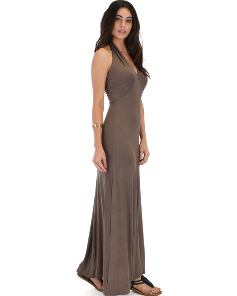 Love Potion Halter Brown Maxi Dress