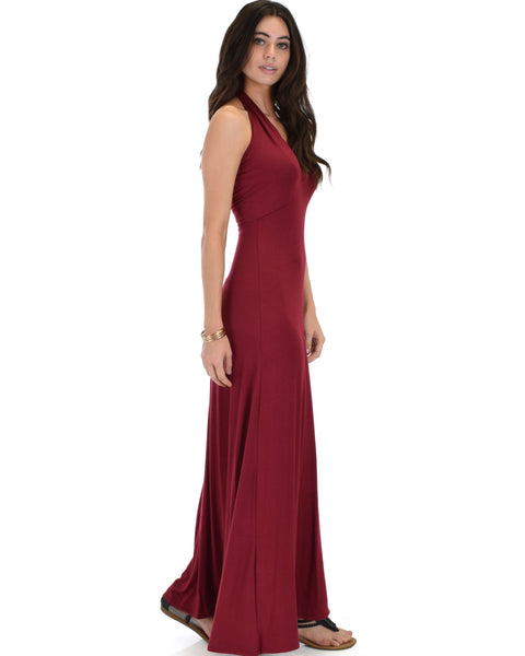 Love Potion Halter Burgundy Maxi Dress