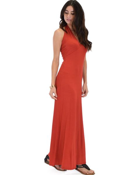 Love Potion Halter Rust Maxi Dress