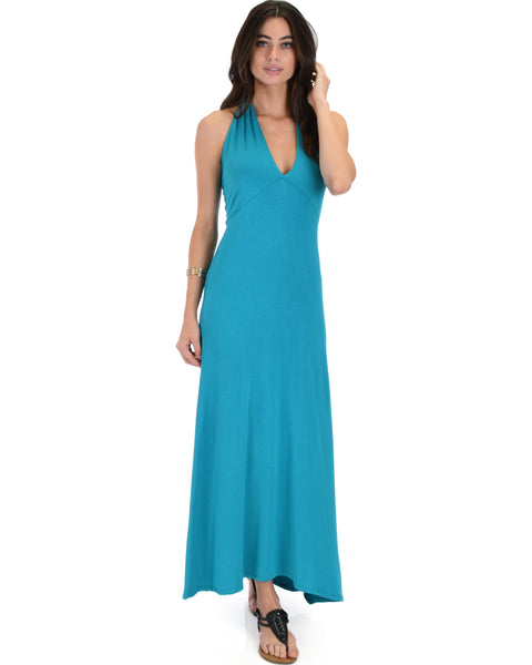Love Potion Halter Teal Maxi Dress