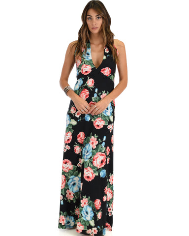Love Potion Halter Black Floral Maxi Dress