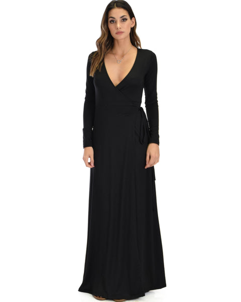 Celestial Long Sleeve Black Wrap Maxi Dress