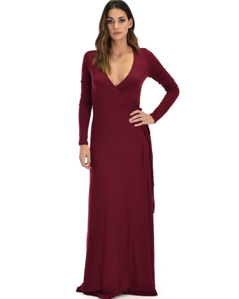 Celestial Long Sleeve Burgundy Wrap Maxi Dress