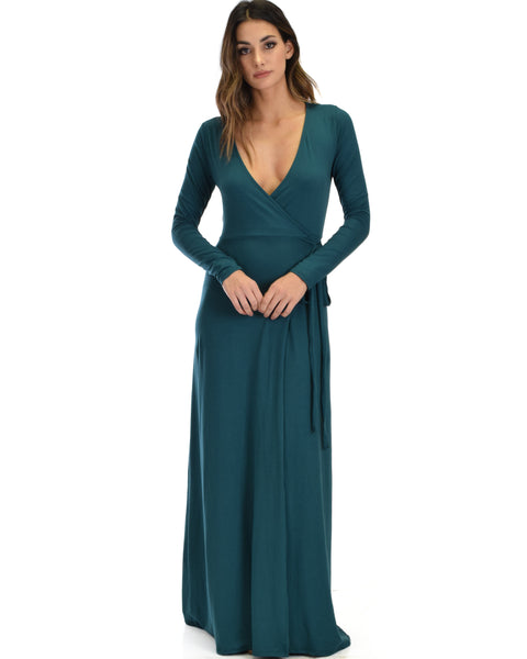 Celestial Long Sleeve Green Wrap Maxi Dress