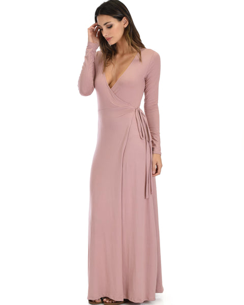 Celestial Long Sleeve Mauve Wrap Maxi Dress