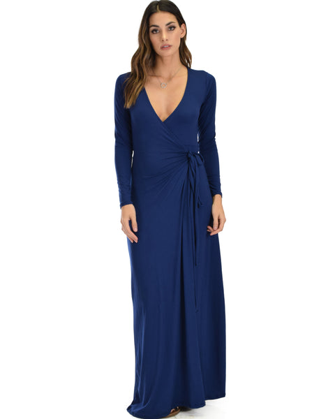 Celestial Long Sleeve Navy Wrap Maxi Dress