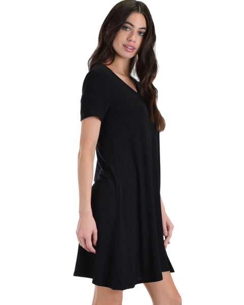 Lyss Loo Black Better Together Shirt Tunic Dress With Pocket