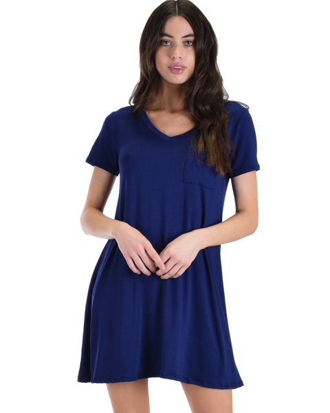 Lyss Loo Navy Better Together Shirt Tunic Dress With Pocket