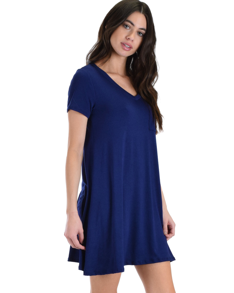 29565b38bd ... Lyss Loo Navy Better Together Shirt Tunic Dress With Pocket
