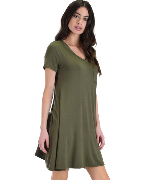 Lyss Loo Olive Better Together Shirt Tunic Dress With Pocket