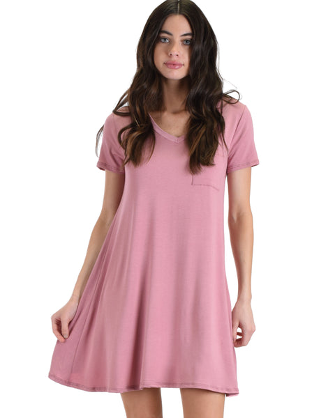 Lyss Loo Rose Better Together Shirt Tunic Dress With Pocket