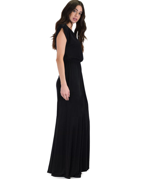 Timeless Black Maxi Dress With Elastic Waist & Side Slit